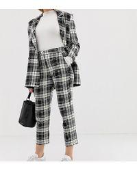 ASOS - Asos Design Petite Slim Cigarette Suit Pants In Mono Check - Lyst