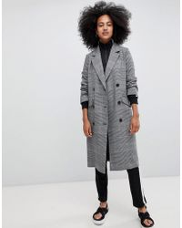 Monki - Check Tailored Lightweight Coat In Grey - Lyst