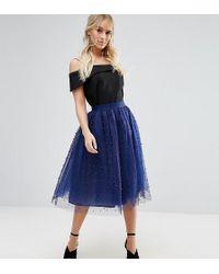Little Mistress - Allover Pearl Embellished Full Midi Prom Skirt - Lyst