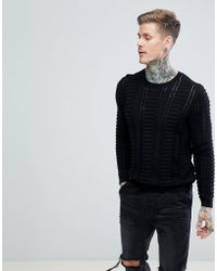 ASOS - Textured Crew Neck Jumper With Mesh Panels - Lyst