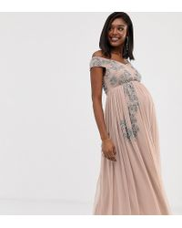 9e156566ef10a Maya Maternity V Neck Maxi Tulle Dress With Tonal Delicate Sequins in  Natural - Lyst