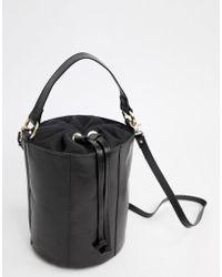 ASOS - Design Leather Bucket Cross Body Bag - Lyst