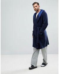 ASOS | Check Fleece Hooded Robe | Lyst