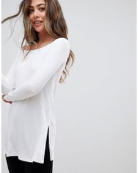 5a97060973039 Lyst - ASOS Off Shoulder Slouchy Top With Side Splits in Black