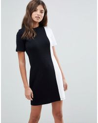 ASOS - Asos T-shirt Dress In Mono Colourblock - Lyst
