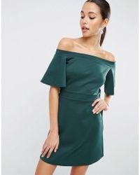 ASOS | Scuba Off Shoulder Mini Dress | Lyst