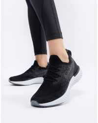 Nike - Epic React Flyknit Trainers In Black - Lyst