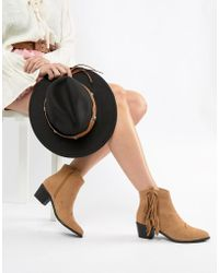Miss Selfridge - Exclusive Fringed Ankle Boot - Lyst