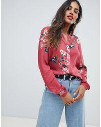 Vila - Floral Long Sleeve Shirt - Lyst