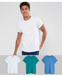 ASOS - T-shirt With Roll Sleeve 3 Pack Save - Lyst