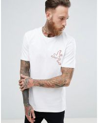 Mango - Man T-shirt With Embroidery In Red - Lyst
