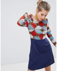 Traffic People - Long Sleeve 2-in-1 Skater Dress With Printed Top - Lyst