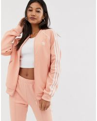 cb6302c35f0d adidas Originals - Adicolor Three Stripe Track Jacket In Pink - Lyst