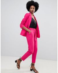 Oasis - Tapered Trousers With Tie Waist In Bright Pink - Lyst