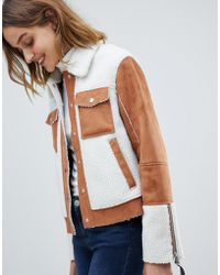 Barneys Originals - Trucker Jacket In Faux Fur Suede And Faux Fur Shearling - Lyst