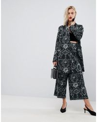 ASOS - Soft Tailored Culottes In Ornate Print - Lyst