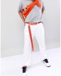 ASOS - Design Slim Woven Long Ended Belt In Orange With D-ring Fastening - Lyst