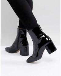 ASOS - Design Rosana Leather Block Heeled Boots - Lyst