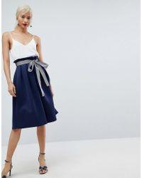 ASOS   Scuba Midi Prom Skirt With Stripe Belt Detail   Lyst