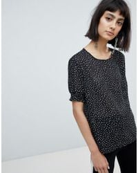Pieces - Spot Blouse With Balloon Sleeve - Lyst