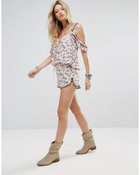 Honey Punch - Runner Shorts In Floral With Rainbow Pom Poms Co-ord - Lyst