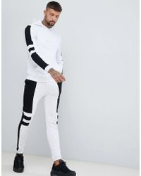 ASOS - Tracksuit Hoodie/super Skinny joggers With Panels In White Marl And Black - Lyst