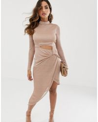 ASOS - High Neck Long Sleeve Open Back Pencil Dress In Metallic Chainmail - Lyst