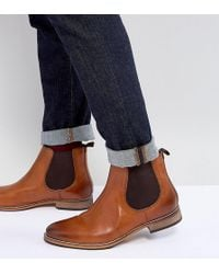 ASOS - Asos Wide Fit Chelsea Boots In Brown Leather With Natural Sole - Lyst