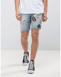 Jack & Jones | Intelligence Denim Shorts In Regular Fit With Badge Details | Lyst
