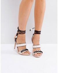 baf7c789787 Forever Unique - Lace Up Ankle Strap Zig Zag Heeled Sandal - Lyst