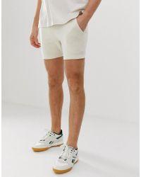 ASOS - Jersey Skinny Shorts In Shorter Length In Beige - Lyst