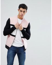 ASOS - Design Muscle Jersey Bomber Jacket In Pink With Colour Blocking - Lyst