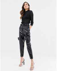 ASOS - High Waisted Vinyl Tapered Pants - Lyst
