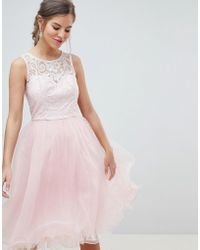Chi Chi London - Midi Tulle Prom Dress With Premium Lace Bodice - Lyst