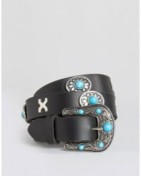 ASOS - Leather Turq Stone Western Jeans Belt - Black - Lyst