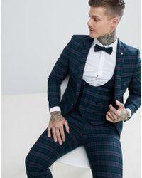 bde8d18fef74 Noose And Monkey Super Skinny Suit Jacket In Db Crocodile Velvet in Black  for Men - Lyst