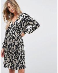 Vero Moda - Metallic Print Wrap Dress - Lyst