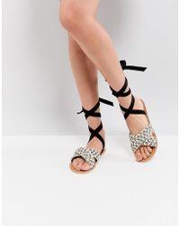 Glamorous - Woven Raffia Ankle Tie Flat Sandal - Lyst