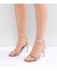 fabe430f777b ASOS - Half Time Wide Fit Barely There Heeled Sandals - Lyst