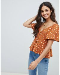 468bfa4171c28 Asos Sheer Tea Blouse In Leopard Print With Ruffle Collar in Red - Lyst