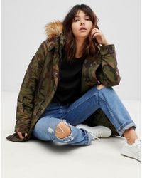 ONLY - Camo Parka With Faux Fur Lining - Lyst