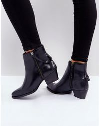 Hudson Jeans - Larry Black Leather Ankle Boots - Lyst