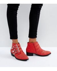 Missguided - Exclusive Studded Strap Western Ankle Boot - Lyst