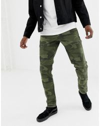 Abercrombie & Fitch - Camo Print Cargo Pants Slim Fit In Green - Lyst