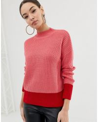 Lipsy - Roll Neck Jumper With Fluted Sleeve In Colour Block - Lyst