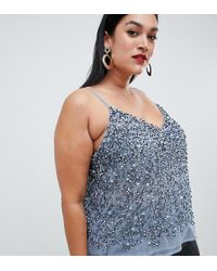 f631c80d9ab68 ASOS Maternity Nursing Woven Vest With Overlay in Blue - Lyst