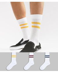 ASOS DESIGN - Sports Style Socks With Retro Stripes 3 Pack - Lyst