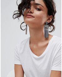 ASOS - Engraved Disc And Bar Chain Tassel Earrings - Lyst