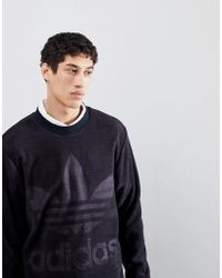 adidas Originals - Adicolor Velour Sweatshirt In Oversized Fit In Black Cy3551 - Lyst