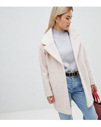 ASOS - Asos Design Petite Cocoon Coat In Texture - Lyst